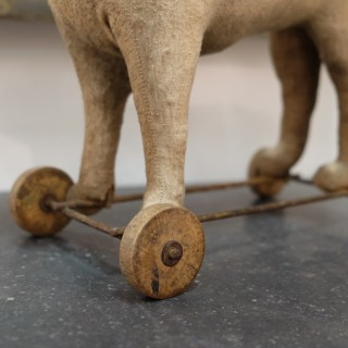 19th C. French Toy-Dog on Wheels