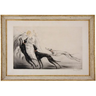Coursing., Art Deco etching of an elegant lady with grey hound dogs.