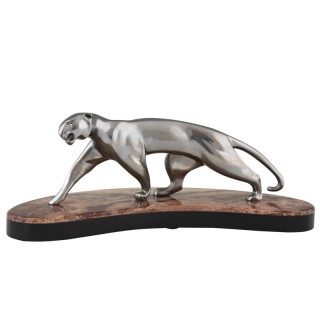 Art Deco nickel plated bronze panther on marble base 1930