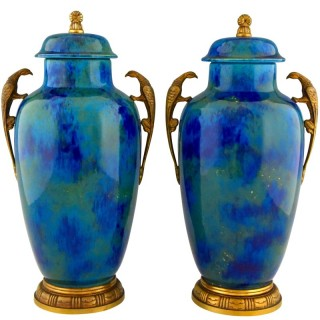 Pair of Art Deco blue ceramic and bronze vases
