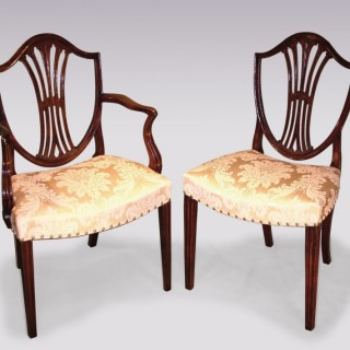A set of 6 Single and 2 Arm late 18th Century Hepplewhite period mahogany Dining Chairs