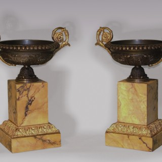 Pair of antique bronze and ormolu Tazzas.