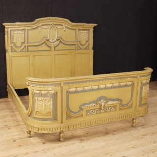 Italian Bed In Lacquered Wood In Louis XVI Style From 20th Century