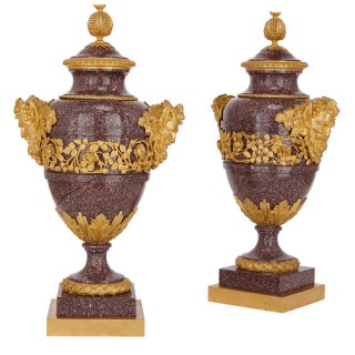 Pair of French antique gilt bronze mounted porphyry vases