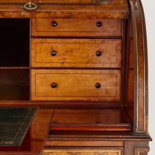 Donald Ross style walnut roll top bureau desk