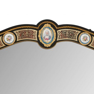 Antique French Sevres style porcelain and Boulle marquetry mirror