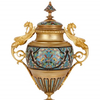 Antique French Neoclassical style ormolu and cloisonne enamel clock set