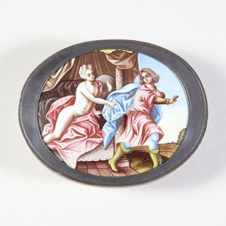 17TH CENTURY GERMAN SILVER AND ENAMEL SNUFF BOX