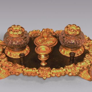 Regency period bronze and ormolu oval Pen Tray.