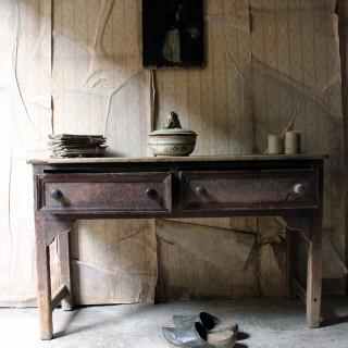 A Beautiful Late George III Period Painted Oak & Pine Dresser Base c.1810-30