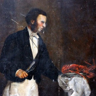 A Wonderful 19thC French School Oil on Board of a Waiter Serving a Lobster c.1890