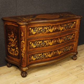 Italian Dresser in Wood with Floral Decorations With 3 Drawers