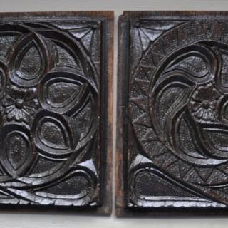 Pair of Gothic oak Panels