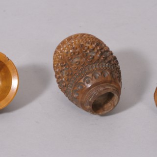Antique Treen 19th Century Coquilla Nut Dredger with Stanhope
