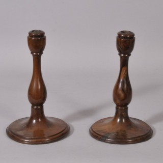Antique Treen 19th Century Pair of Yew Wood Candlesticks