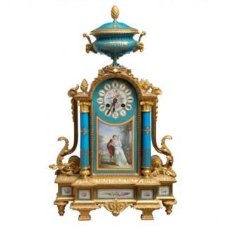 A FINE SEVRES AND ORMOLU MANTEL CLOCK