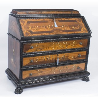 Antique Italian Renaissance Revival Fruitwood Marquetry Bureau 18th C