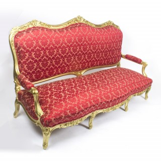Antique French Giltwood Framed Canape' Settee from Humewood Castle c1870