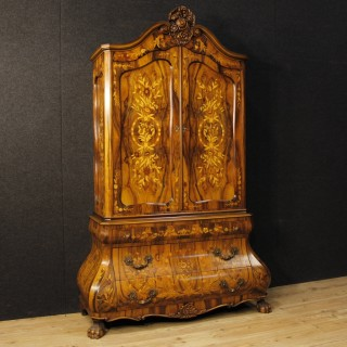 Italian Cabinet In Wood With Floral Decorations From 20th Century