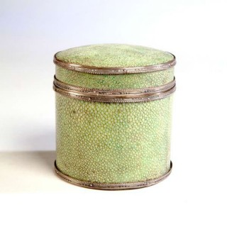 A RARE AND VERY FINE SHAGREEN AND SILVER BOX BY J P COOPER