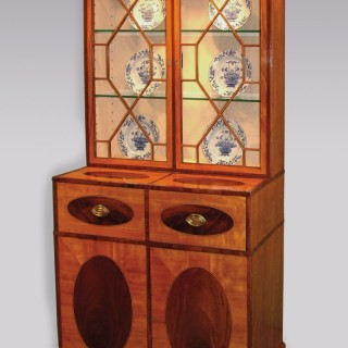 Late 18th Century Sheraton Period Satinwood Secretaire Bookcase