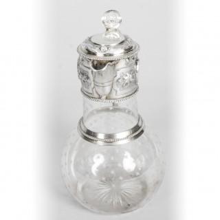Antique Victorian Silver & Crystal Claret Jug Ewer W & G Sissons 1864