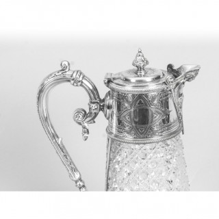 Antique Victorian Silver Plate Mounted & Cut Crystal Claret Jug 19th C
