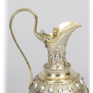 Antique Victorian Silver Claret Jug Lidded Sibray Hall & Co Sheffield 1879