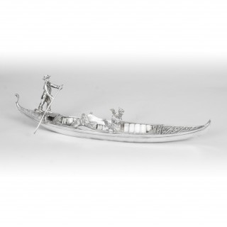 Antique Silvered Bronze Model of a Gondola with Gondolier 19th Century