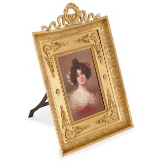 19th Century painted porcelain plaque, with portrait of a lady