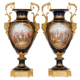 Pair of antique gilt bronze mounted Sevres style porcelain vases