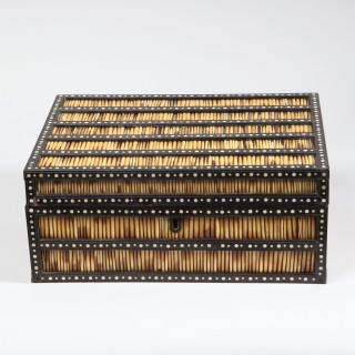 CEYLONESE PORCUPINE QUILL AND EBONY BOX