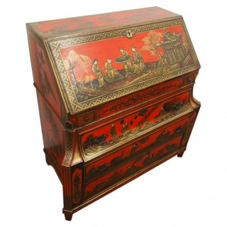Chinoiserie Red Lacquer Bureau