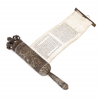 Antique filigree silver Judaica Megillah scroll by Bezalel