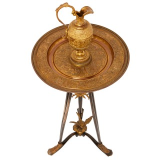 Gilt and patinated bronze ewer on stand, attributed to Barbedienne