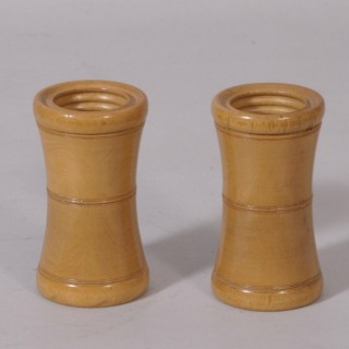 Antique Treen 19th Century Pair of Boxwood Dice Shakers