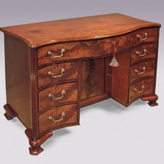 Mid-18th Century Mahogany Serpentine Knee-Hole Chest