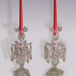 Pair of Late 19th Century Cut-Glass Lustre Candlesticks