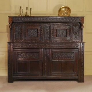 An Outstanding James I Oak Court Cupboard