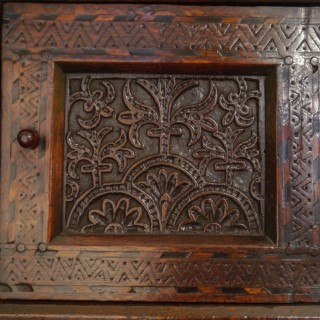 An Outstanding James I Oak Court Cupboard