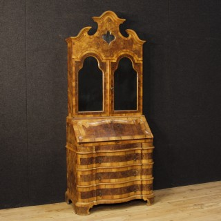 Venetian Trumeau In Walnut And Burl Wood With Mirror From 20th Century
