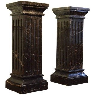 Large Pair of 19th Century Black Marble Pedestals Black Columns