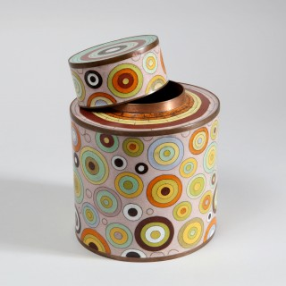 FABIENNE JOUVIN 1970'S CLOISONNE CYLINDRICAL JAR AND COVER