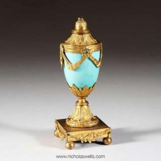 GEORGE III PERIOD BLUE ENAMEL BRONZE & ORMOLU CASSOLETTE