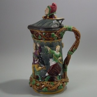 Minton Majolica Tower Jug/Pitcher with Pewter Lid