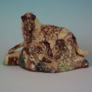 British Creamware-Style Pottery Ewe with Lamb Figure