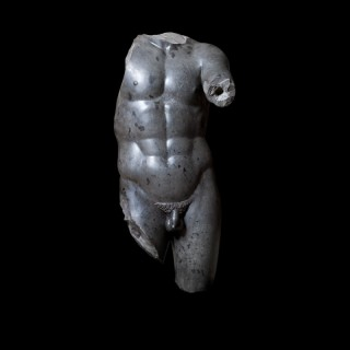 LYSIPPOS APOXYOMENOS : BLACK BASALT STATUE : 'THE SCRAPER' TORSO