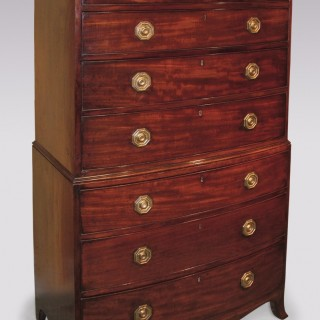 Antique late 18th Century mahogany bow-fronted Tallboy.