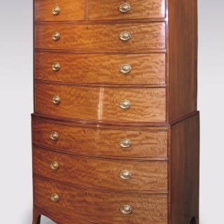 Antique George III period golden mahogany Bow Tallboy.