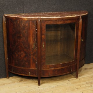 Dutch Art Deco Sideboard In Mahogany Wood With Marble Top From 20th Century
